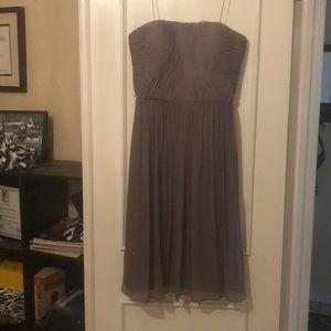 Plum Donna Morgan short strapless dress